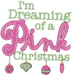 Pink Christmas embroidery design