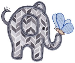 Little Elephant & Butterfly Applique embroidery design