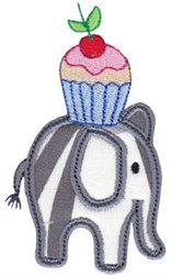 Little Elephant & Cupcake Applique embroidery design