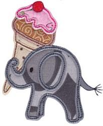 Little Elephant Ice Cream Applique embroidery design