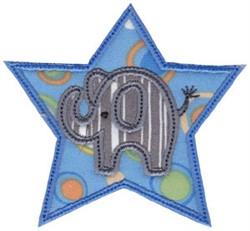 Little Elephant Star Applique embroidery design