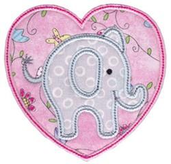 Little Elephant Heart Applique embroidery design