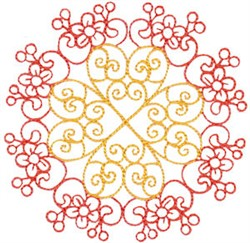 Country Flowers Quilt Block Circle embroidery design