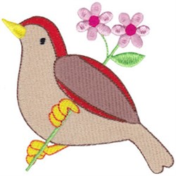 Spring Bird & Flowers embroidery design