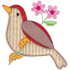 Spring Splendor Applique Bird embroidery design