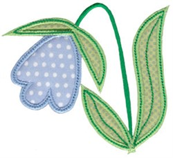 Spring Applique Blue Tulip embroidery design