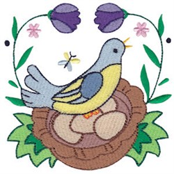 Easter Delights Blue Bird embroidery design