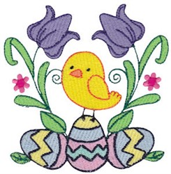 Easter Chick & Flowers embroidery design