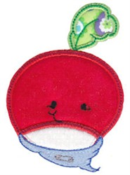 Baby Bites Applique Radish embroidery design