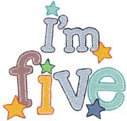 Birthday Boy Im Five embroidery design