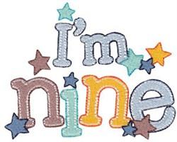 Birthday Boy Im Nine embroidery design