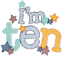 Birthday Boy Im Ten embroidery design