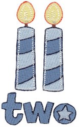 Birthday Boy Two Candles embroidery design