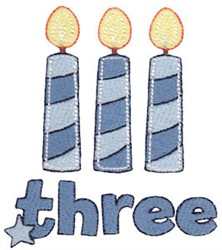 Birthday Boy Three Candles embroidery design