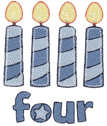Birthday Boy Four Candles embroidery design