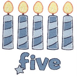 Birthday Boy Five Candles embroidery design