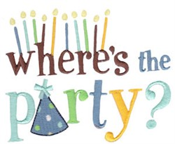 Wheres The Party? embroidery design