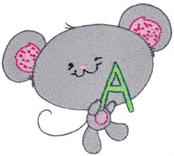School Critter Mouse embroidery design