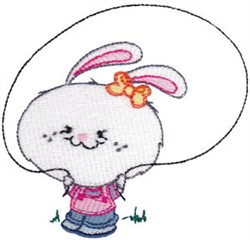 School Critter Girl Bunny embroidery design