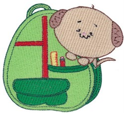 School Critter Puppy Backpack embroidery design