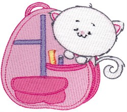 School Critter Kitten Backpack embroidery design