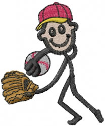 Baseball Player Joe embroidery design