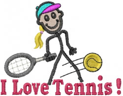 Tennis Jane embroidery design