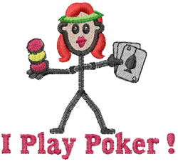 Poker Player Jane embroidery design