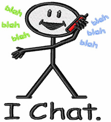 Chat on the Phone embroidery design