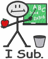 Substitute Teacher embroidery design