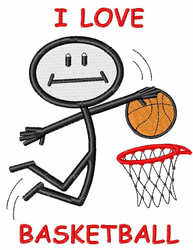 I Love Basketball embroidery design