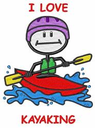 I Love Kayaking embroidery design