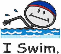 I Swim embroidery design
