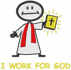 I Work For God embroidery design