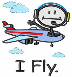 I Fly embroidery design