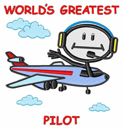 Worlds Greatest Pilot embroidery design