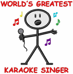 Karaoke Singer embroidery design
