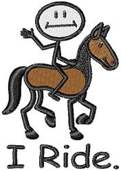 I Ride embroidery design