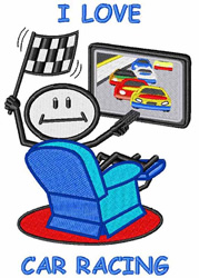 I Love Car Racing embroidery design