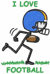 I Love Football embroidery design