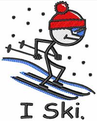 I Ski embroidery design