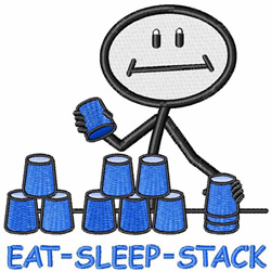 Eat Sleep Stack embroidery design