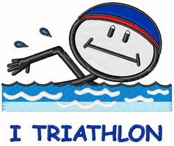 I Triathlon embroidery design