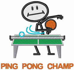 Ping Pong Champ embroidery design