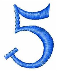 Numeral 5 embroidery design