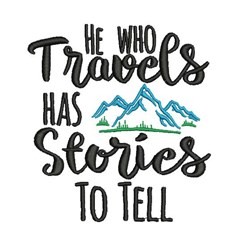 HE WHO TRAVELS embroidery design