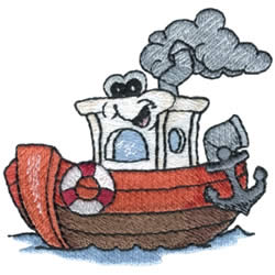 Tugboat embroidery design