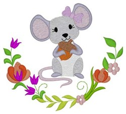 Woodland Girl Mouse embroidery design