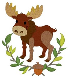 Woodland Moose embroidery design