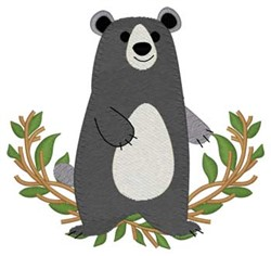 Woodland Black Bear embroidery design